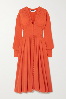 Rotate by Birger Christensen Tracy Ruched Jacquard Midi Dress