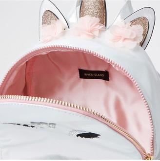 River Island Girls Glam Unicorn Backpack - White