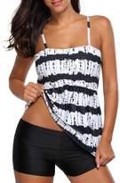 Crazycatz@Womens Tankini Swimsuit Plus size Two Piece Swimdress+boyshort
