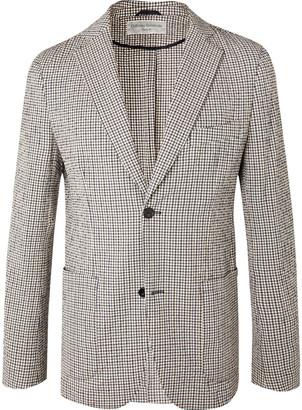 Officine Generale Slim-Fit Unstructured Gingham Cotton-Blend Seersucker Blazer