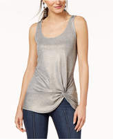INC International Concepts I.n.c. Petite Twist-Front Ribbed Tank Top, Created for Macy's