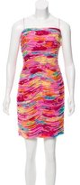 David Meister Floral Print Silk Dress