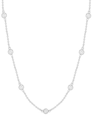 """Essentials Cubic Zirconia Station 24"""" Statement Necklace in Fine Silver or Gold Plate"""