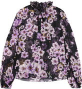 Giambattista Valli Pussy-bow Ruffled Floral-print Silk-chiffon Blouse - Purple