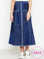 McQ Patched Denim A Line Skirt
