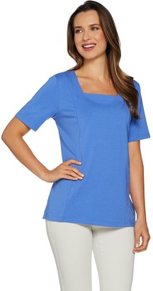 Bob Mackie Square Neck Short Sleeve Knit Top