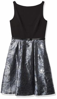 Carmen Marc Valvo Women's Crepe Solid Bodice with Printed Metallic Brocade Skirt