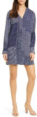 Diane von Furstenberg Reid Long Sleeve Silk Minidress