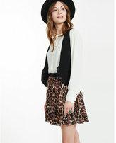 Express leopard print pleated mini skirt