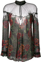 Just Cavalli sheer floral print blouse