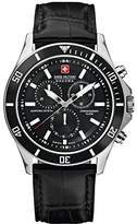 Swiss Military Men's Quartz Watch with Black Dial Chronograph Display and Black Leather Strap 6-4183.04.007