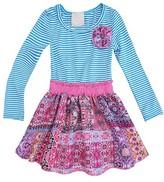 Sara Sara Neon Toddler Girls' Long Sleeve Dress with Floral Skirt - Blue
