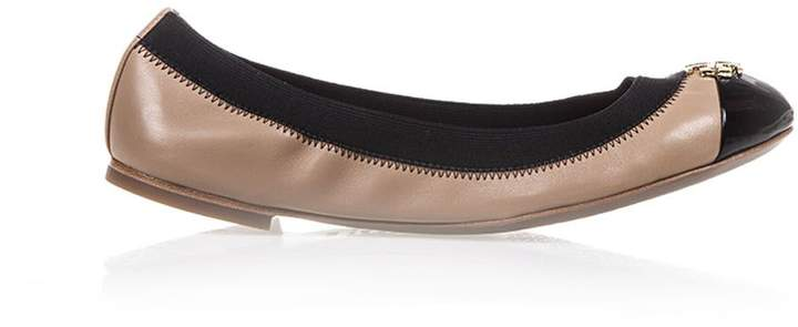 Tory Burch Jolie Two-coloured Leather Ballerinas