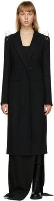 Ann Demeulemeester Black Wool Cage Shoulder Coat