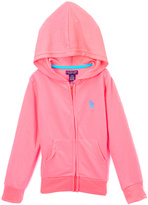 U.S. Polo Assn. Neon Coral Zip-Up Hoodie - Girls