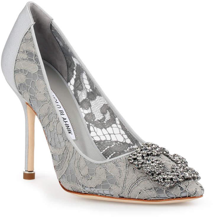 Manolo Blahnik Hangisi 105 grey lace pump