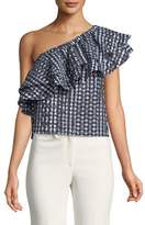 Rebecca Minkoff Lily Striped Tie-Front Crewneck Tee