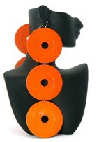 Orange Poparazzi 7 Inch Drop Circle Earrings Lady Gaga Basketball Wives
