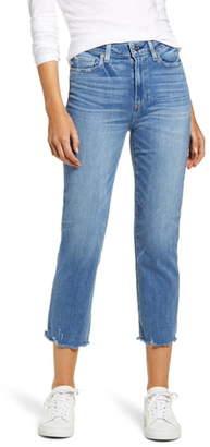 Paige Hoxton High Waist Crop Fray Hem Slim Straight Leg Jeans