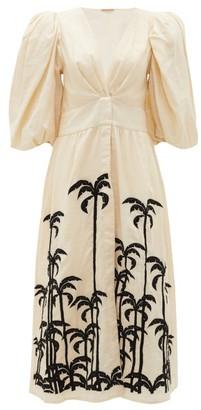 Johanna Ortiz Quizas Palm Tree-embroidered Linen Midi Dress - Cream Multi