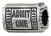 Zable Theatre Ticket Entertainment Sterling Silver Charm