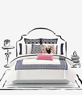 Kate Spade Folk Art Medallion-Embroidered Bordered Cotton Percale Duvet