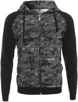 Xpril Long Sleeve Military Raglan Zip Up Hoodie with Pocket Camo Gray Size XL