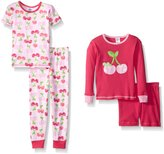 Gerber Little Girls' Four-Piece Cotton Pajama Set