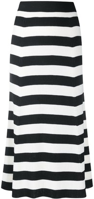 MSGM Striped Knitted Midi Skirt