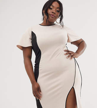 Asos DESIGN Curve illusion paneled midi dress-Beige