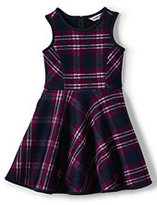 Lands' End Girls Sleeveless Bonded Knit Dress-Rubellite Plaid