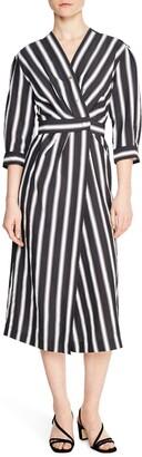 Sandro Carl Striped 3/4 Sleeve Snap Midi Wrap Dress