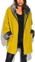 Yellow Faux Fur-Trim Hooded Wool-Blend Coat - Plus Too