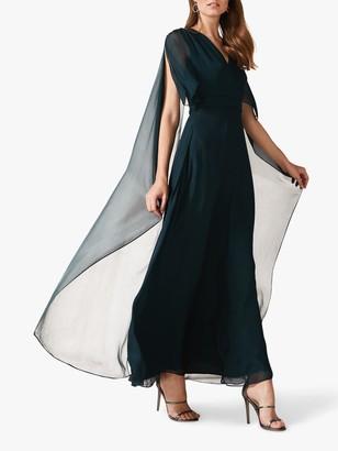 Phase Eight Arwen Silk Mix Drape Dress, Petrol Blue