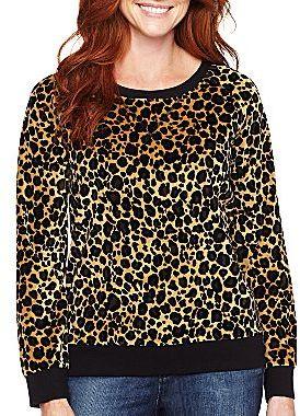 Liz Claiborne Active Printed Velour Pullover