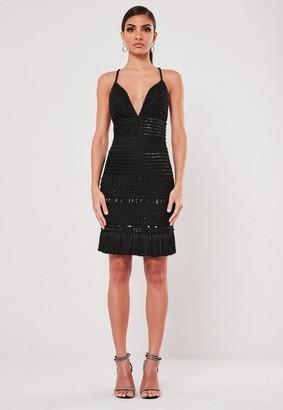 Missguided Black Beaded Tassel Mini Dress