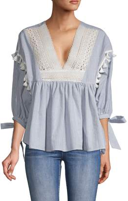 ENGLISH FACTORY Stripe-Print Lace-Trimmed Blouse