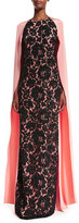 Oscar de la Renta Lace-Front Caftan Gown, Peach/Black