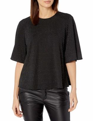 Nine West Women's Short Sleeve Metallic Knit Blouse