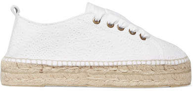 Manebi Lace-up Broderie Anglaise Espadrilles - White
