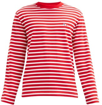 MAISON KITSUNÉ Tricolour-fox Striped Cotton-jersey T-shirt - Red