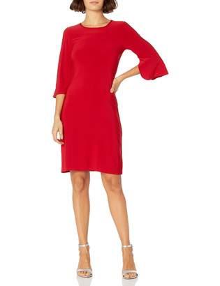 Star Vixen Women's Plus-Size Bell Sleeve Keyhole Back Dress