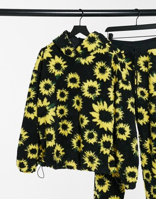 Daisy Street oversized hoodie in sunflower print teddy fleece co-ord