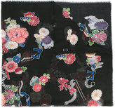 Saint Laurent floral scarf - women - Wool - One Size