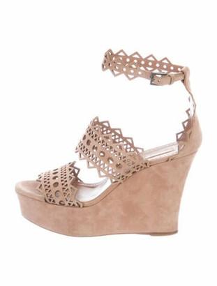 Alaia Suede Gladiator Sandals Pink