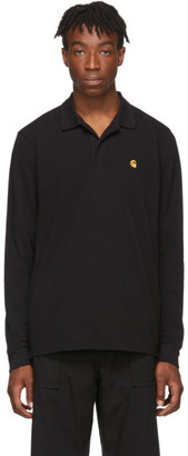 Carhartt Work In Progress Black Pique Chase Long Sleeve Polo