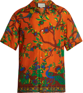 Gucci Jubilee-print short-sleeved silk shirt