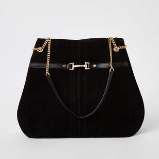 River Island Womens Black suede leather snaffle front slouch bag