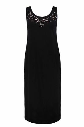 Ulla Popken Women's Plus Size Beaded Round Neck Knit Tank Dress Black 20/22 724537 10-46+