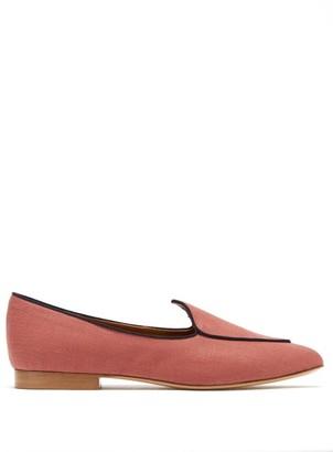 Le Monde Beryl - Venetian Linen Slipper Shoes - Dark Red